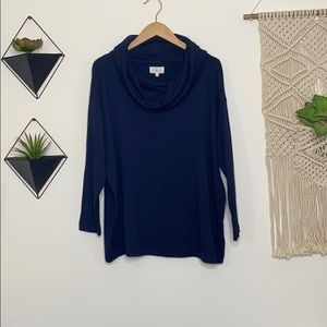 LOFT Lou & Grey Cowl Neck Pullover in Navy